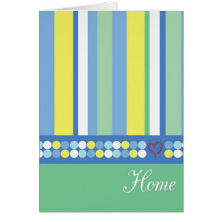 Welcome Home Green Stripes Stationery Note Card