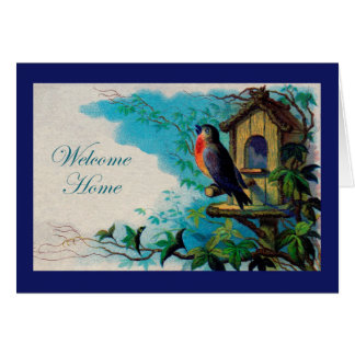 Welcome Home Greeting Card, Robin Bird Card