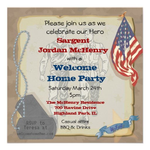 Welcome home hero military party invitation square for Military welcome home party decorations