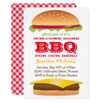 Welcome Home Hero Party Burger and BBQ Invitation
