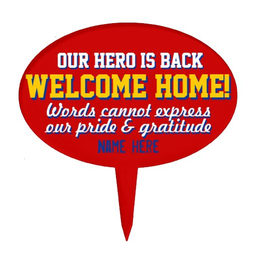 Military welcome home cake toppers military welcome home for Welcome home soldier decorations