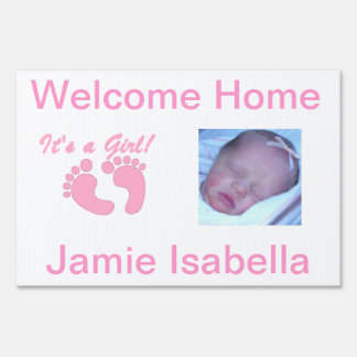welcome home its a girl yard sign