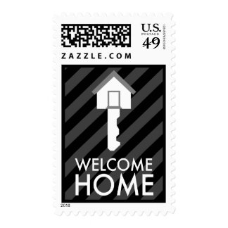 welcome home key postage stamp