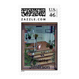 Welcome Home Kitty Postage Stamp