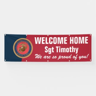 Welcome Home Marine - Red and Blue Seal Banner