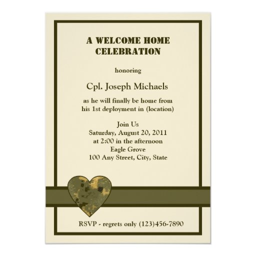 Welcome Home/ Military 5x7 Paper Invitation Card