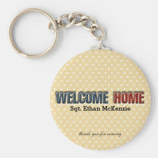 Welcome home military basic round button keychain