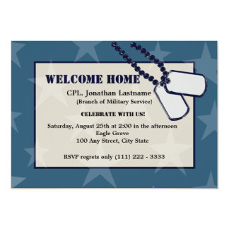 Welcome Home Military Blue Stars and Dog Tags Card