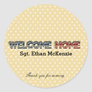 Welcome home military classic round sticker