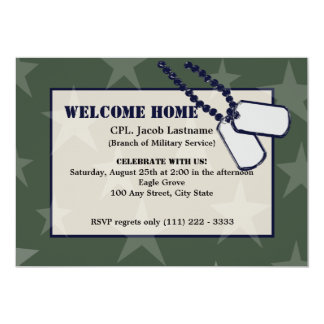 Welcome Home Military Green Stars and Dog Tags Card