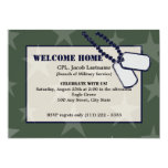 Welcome Home Military Green Stars and Dog Tags Custom Invites