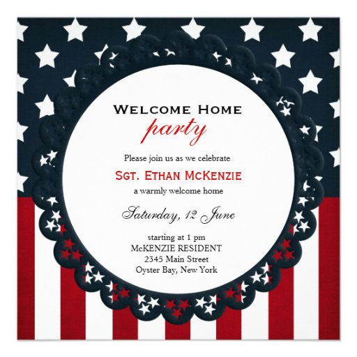 Welcome home military party square paper for Military welcome home party decorations