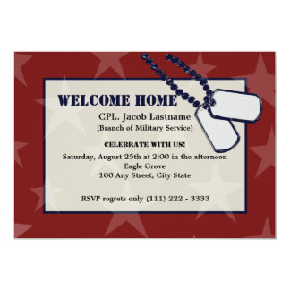 Welcome Home Military Red Stars and Dog Tags Card