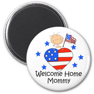 Welcome Home Mommy Stick Figure Baby 2 Inch Round Magnet