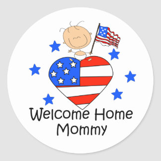 Welcome Home Mommy Stick Figure Baby Classic Round Sticker