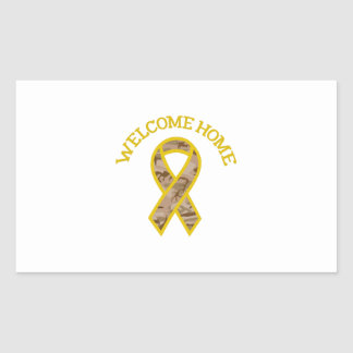 WELCOME HOME RIBBON RECTANGULAR STICKER