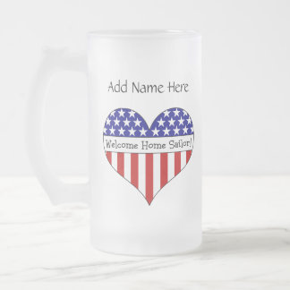 Welcome Home Sailor! Frosted Glass Beer Mug