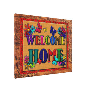 Welcome Home Sign Butterfly Floral