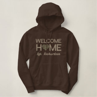 Welcome Home Soldier Customizable Heart Embroidered Hoodie