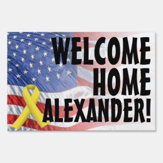 Welcome Home Soldier Military Yard Sign