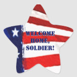 Welcome Home, Soldier! Star Shape Flag Stickers