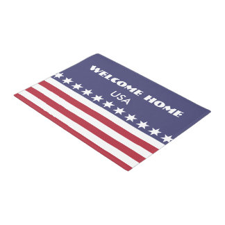Welcome Home USA American Patriot Door Mat Blue