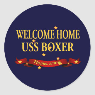 Welcome Home USS Boxer Classic Round Sticker