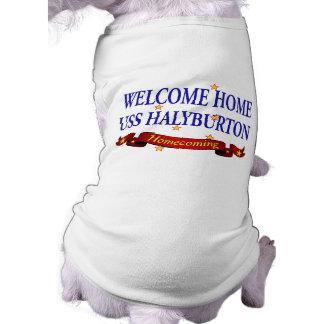Welcome Home USS Halyburton Dog Tee Shirt