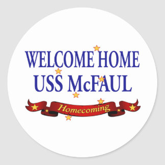 Welcome Home USS McFaul Classic Round Sticker