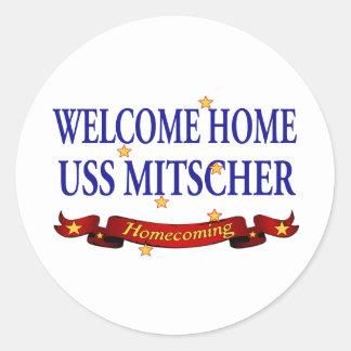 Welcome Home USS Mitscher Classic Round Sticker