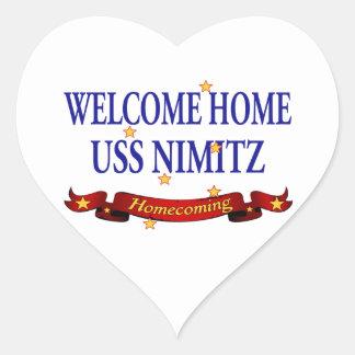 Welcome Home USS Nimitz Heart Sticker