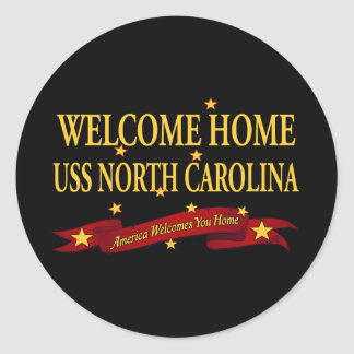 Welcome Home USS North Carolina Classic Round Sticker