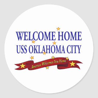Welcome Home USS Oklahoma City Classic Round Sticker