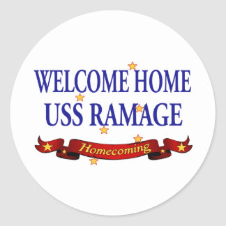 Welcome Home USS Ramage Classic Round Sticker