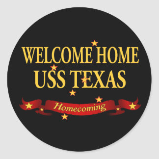 Welcome Home USS Texas Classic Round Sticker