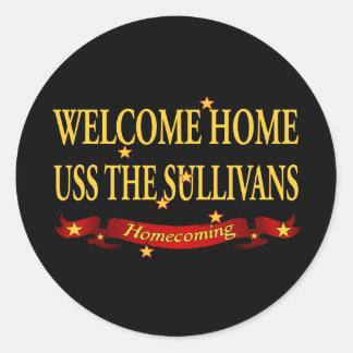 Welcome Home USS The Sullivas Round Sticker