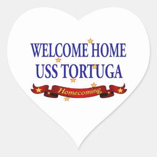 Welcome Home USS Tortuga Heart Sticker