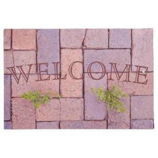 welcome, doormat, humorous, funny, weeds, housewarming, bricks, photography,