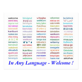 Welcome in 80 Languages Postcard