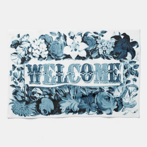 welcome in delft blue kitchen towel