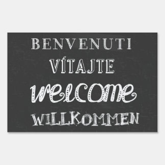 Welcome in four languages! yard sign