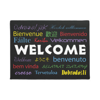 Welcome in Many Languages Black Background Doormat