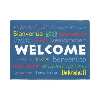 Welcome in Many Languages Blue Background Doormat