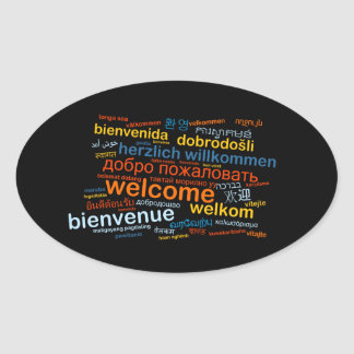Welcome in multiple languages oval sticker