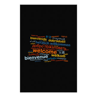 Welcome in multiple languages stationery