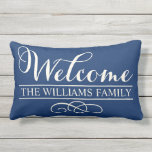 "Welcome in Script | Navy Blue Custom Outdoor Pillow<br><div class=""desc"">Stylish outdoor pillow design features &quot;Welcome&quot; in modern soft white script writing with custom family name text and scroll decorative accent. The dark navy blue background color that can be customized to coordinate with your decor.</div>"