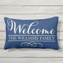 Welcome in Script | Navy Blue Custom Outdoor Pillow