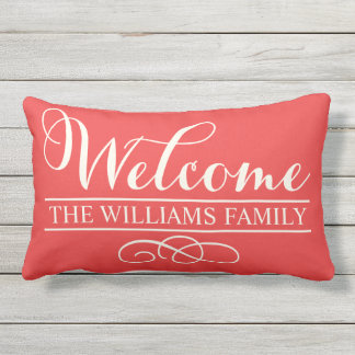 Welcome in Script | Poppy Red Custom Outdoor Pillow