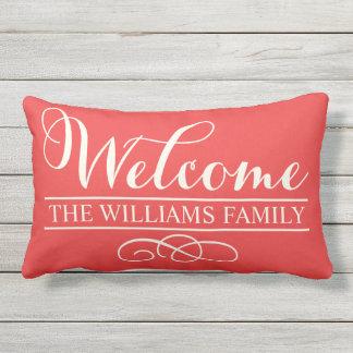 Welcome in Script   Poppy Red Custom Outdoor Pillow