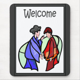 Welcome - Japanese ladies Mouse Pad